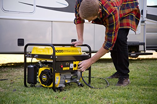 man operating the Champion 3500-Watt RV Ready Portable Generator