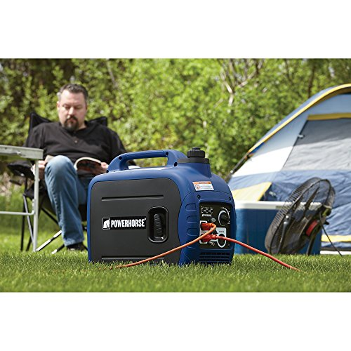 the gas powered Powerhorse portable generator with man and tent in background