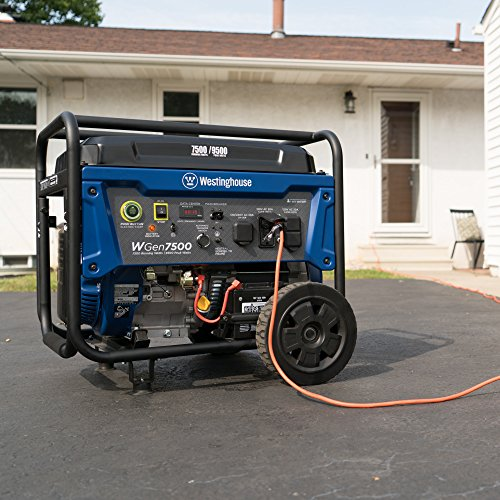 the Westinghouse WGen7500 portable generator in front of home