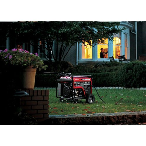 the Honda 660530 portable generator with home in background
