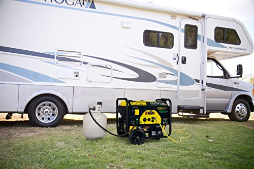 the Champion 3800-Watt with motor home in background