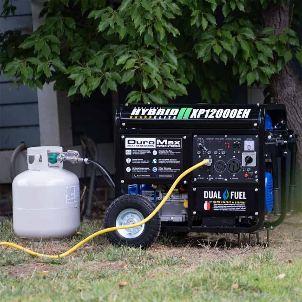 the Duromax xp12000eh generator hooked up to a gas bottle