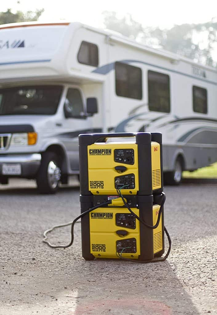 you can use the Champion 2000 Watt Inverter Generator in parallel