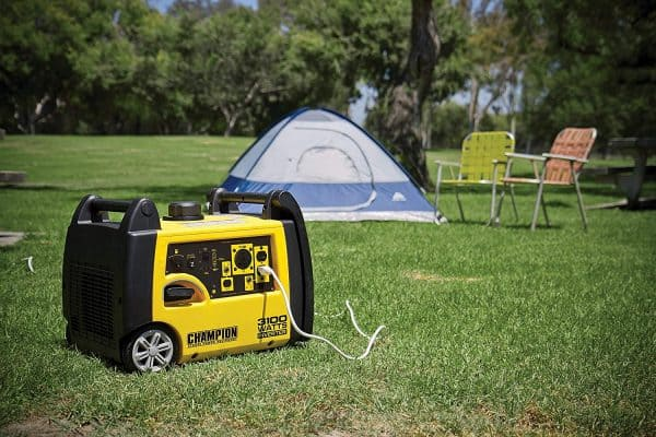 Champion 3100 watt generator and tent in background - Portable Generators For Camping & RVs
